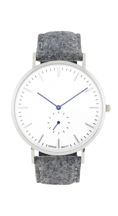 Ultradünne Uhr mit Lederband und japanischem Miyota-Quarz-Chrono
