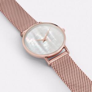 Perlmutt Zifferblatt mit 2 Zeigern Uhrwerk aus Edelstahl
