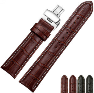 Kundenspezifisches Uhrarmband aus echtem Leder mit Krokodilstruktur
