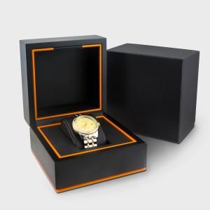 Verpackenkasten der hölzernen materiellen Uhr des kundenspezifischen Luxuslogos mit kundengebundenem Design