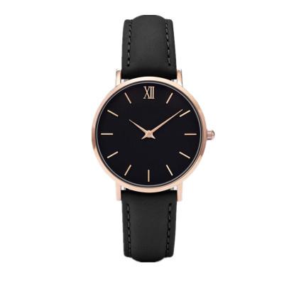 Reloj de mujer con correa de cuero genuino con logotipo personalizado con movimiento miyota japonés