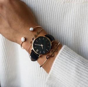 Damenuhr aus echtem Leder mit individuellem Logo und japanischem Miyota-Uhrwerk