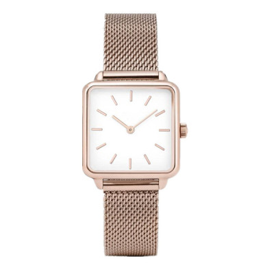 Rose gold color stainless steel square shape womans watch with milanese mesh band