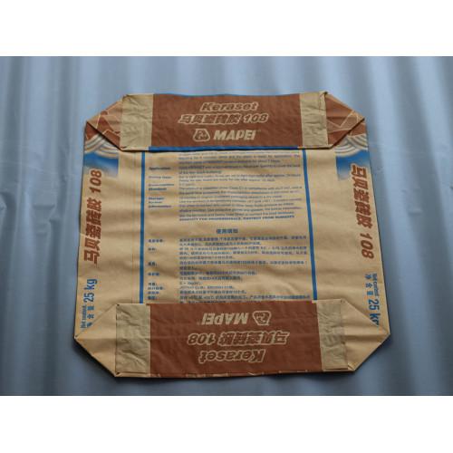 Bolsa de papel kraft de 2 capas para cemento Capa de cemento Bolsas de sacos de papel Kraft con válvula externa