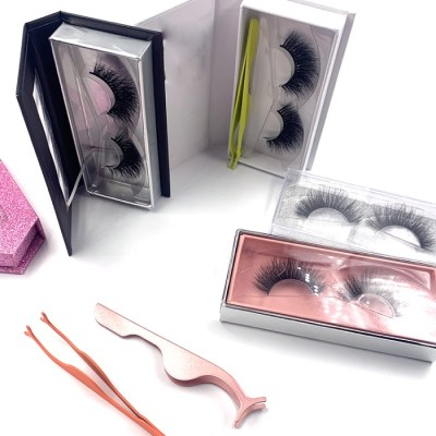 Best 3d Mink Eyelashes Natural Custom Packaging Private Label eyelashes with rhinestone