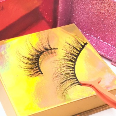 eyelashes box packaging handmade 4D 25mm strip eyelash real minkLashes False Eyelashes