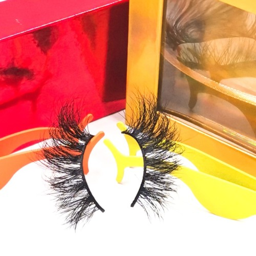 eyelashes logo box 25mm Mink fur Custom Eyelash Full 3D Mink Eyelashes with custom package