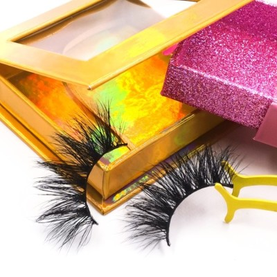 eyelashes logo box 25mm Mink fur Custom Eyelash Full 3D Mink Eyelashes with custom package
