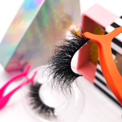 Private Logo customize packaging fashion Fluffy cruelty free 25mm mink eyelash