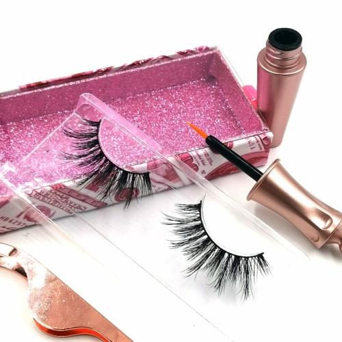 Best Popular Natural Hand Custom Lashes Packaging 3d glue eyelashes set