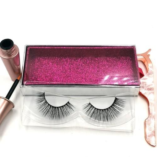 3D faux eyelashes High Quality100% 3D silk eyelashes custom packaging box