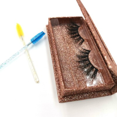 Wholesale Price Oem Real Mink Strip Lashes Natural Black 25mm 3D Mink Strip Eyelashes And Box