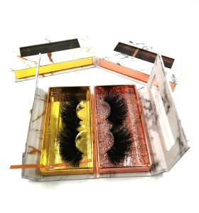 Add to CompareShare Private Label Individual Mink Lashes Thick Natural Black 3D Eyelash Makeup Strip 25mm Eyelashes