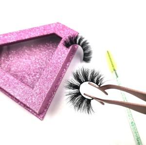 Customized 100% Hand Made Strip 3D 25mm Mink Eyelashes With Applicator Eyelash Case