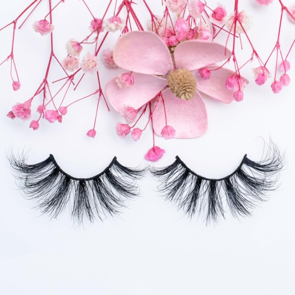 Long Fur Wispy Fluffy 25mm 5d Mink Fur False Eyelashes With Custom Eyelash Box