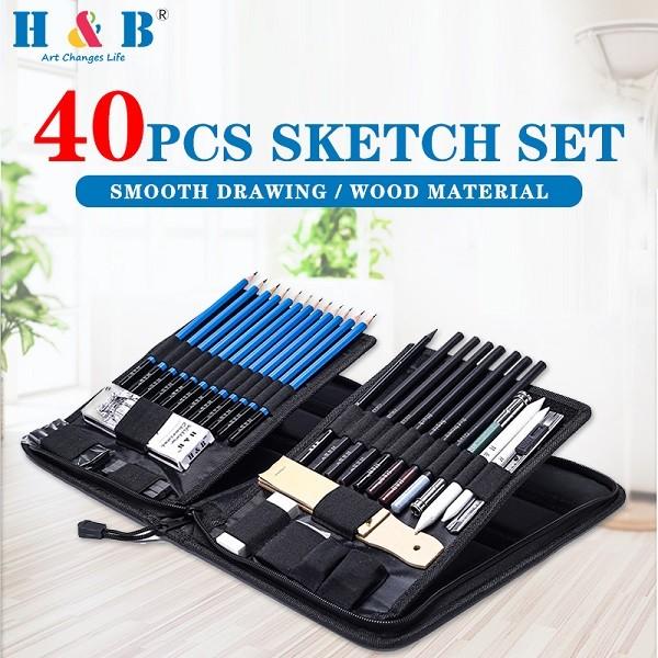H&B 40PCS  sketching drawing and pencil  set