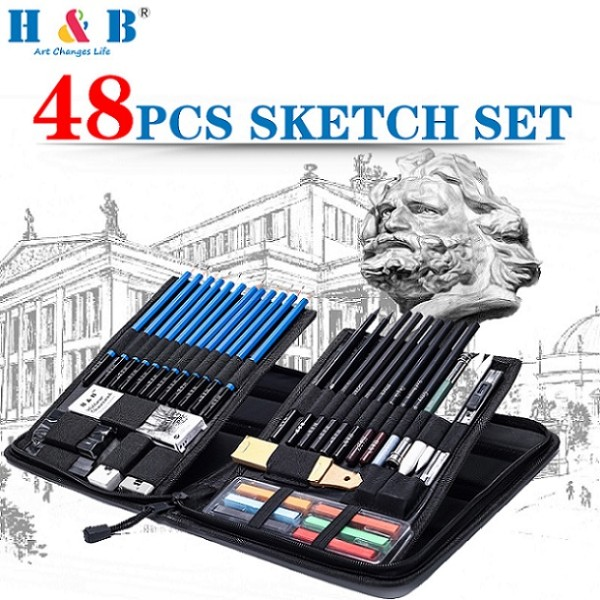 48 Pieces Professional Drawing andsketch pencil set in Zippered Carrying Case