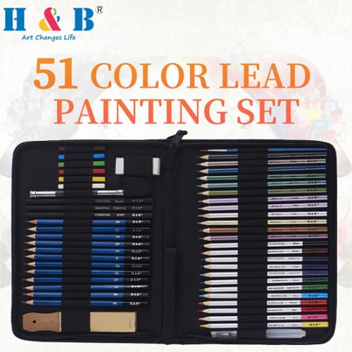 H&B manufacturer 51 pcs artist sketch wood color drawing pencil set