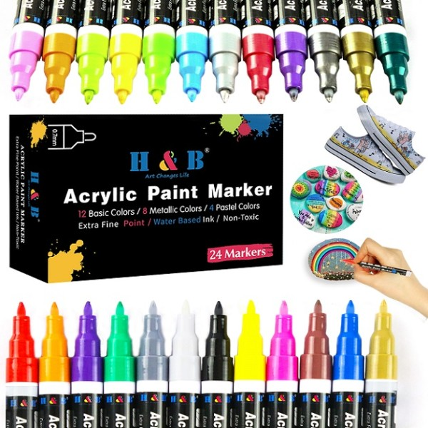 H&B Permanent Metallic Marker Paint Pens for Rock Painting Set of 24 Acrylic Paint Markers