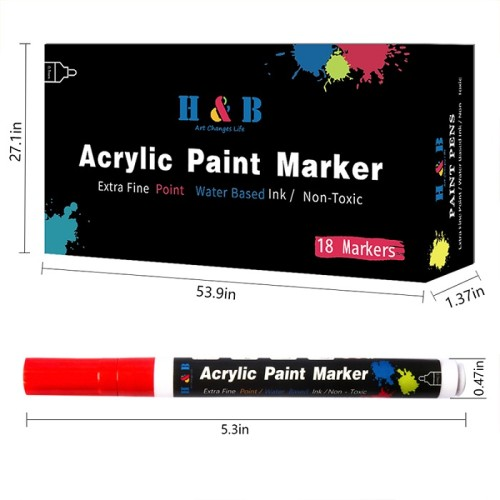 china  H&B18color acrylic Paint Markers pen  for Rock Painting, Stone, Ceramic, Glass, Wood, Canvas