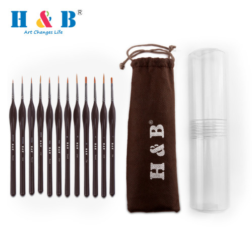 H&B 12pcs/Set Hook Line Pen Drawing Paint Brush for Watercolor and Oil Painting Pens Detail Art Painting Tools