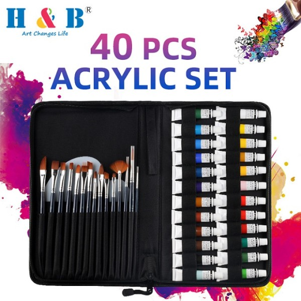 H&B artist supplies  24 colors  acrylic  painting brush set
