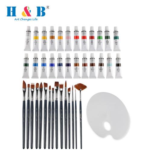 H&B artist supplies  24 colors  acrylic  painting brush set