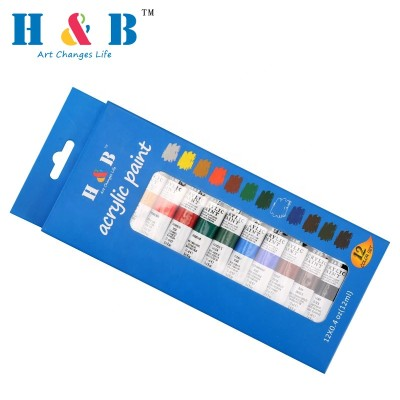 H&B 12 colors Art Supplies Acrylic Paint Set