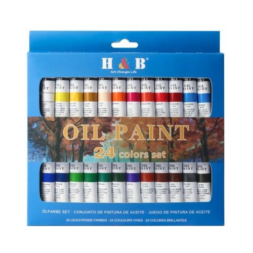 H&B 24colors art painting professional artist oil color paint set