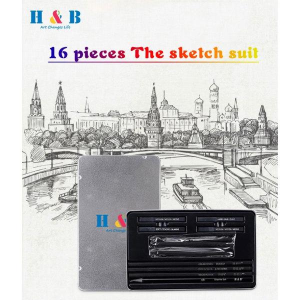 H&B 12PCS  Small Tin sketch Charcoal Drawing Art Set