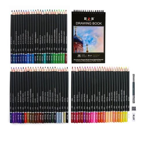 H&B 76 pcs Professional artist natural Wooden colored pencil set