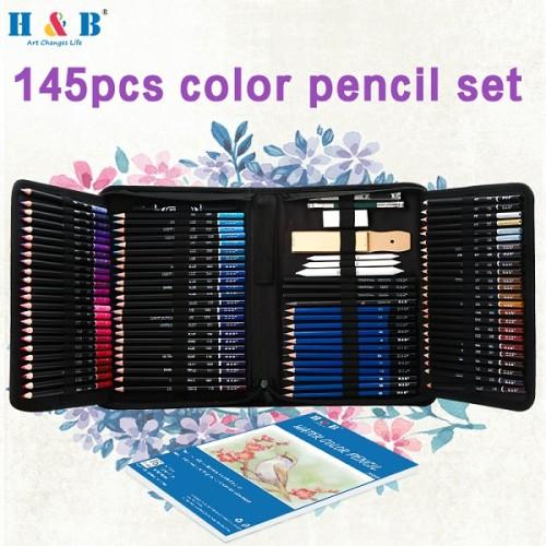 H&B 145pcs  Sketch Pencils  Colored Pencils Art Set drawing pencil for artsist