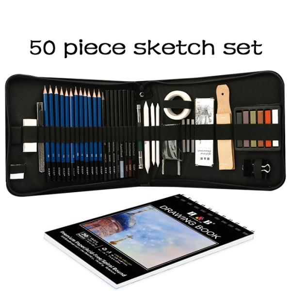 H&B drawing Pencils Set 50 pcs Professional Sketch Pencil Set in Zipper Carry Case