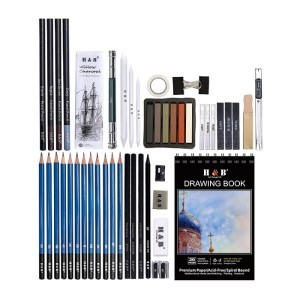 H&B drawing Pencils Set 50 pcs Professional Sketch Pencil Set in Zipper Carry Case