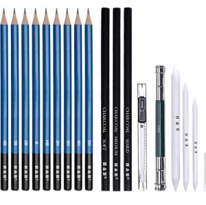 H&B 23pcs wood sketch pencil art charcoal sketch pencil set for drawing