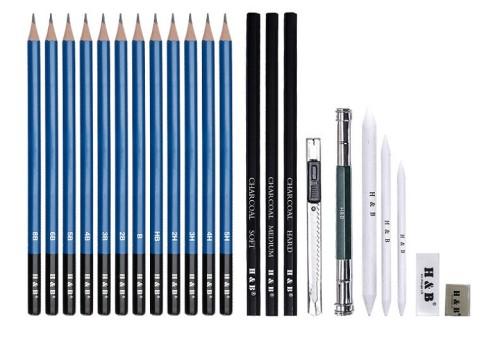 H&B 23pcs wood sketch pencil art charcoal sketch pencil set for drawing