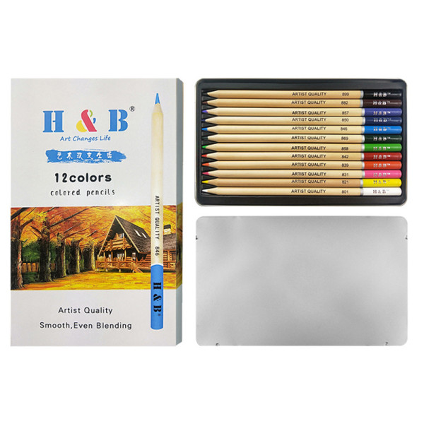 12 colors wooden oil drawing colored pencils set for kids