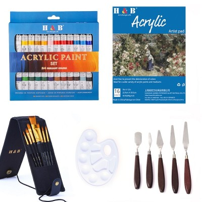 H&B New Design 24 Colors acrylic paint  brush set For Artist