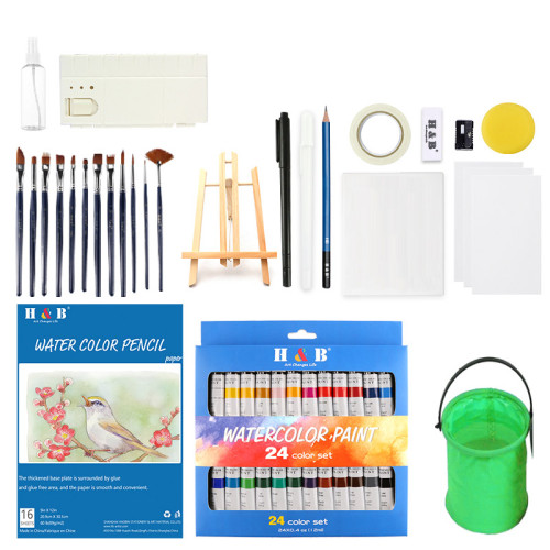 H&B China art supplies 24 colors  watercolor paint set for painting