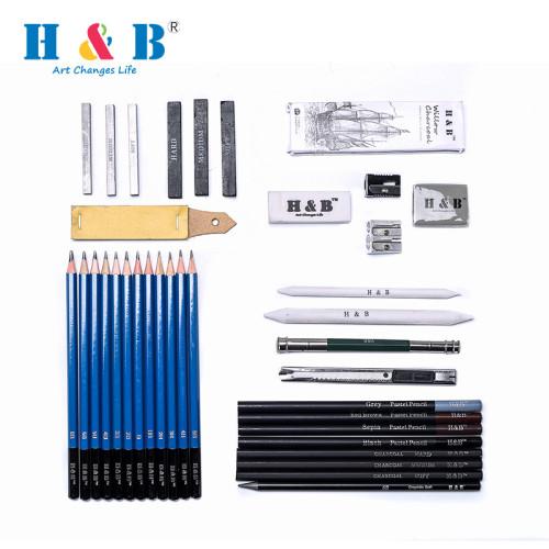 H & B Professional 32 Sketching Pencils Set USA