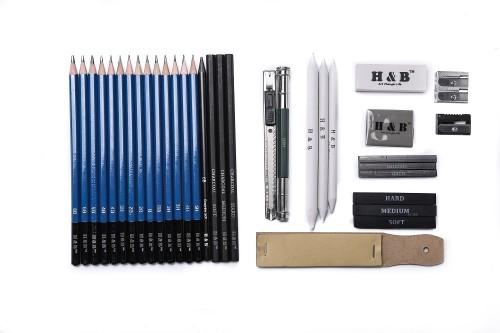 H & B 35 pcs Sketching Pencils Set USA