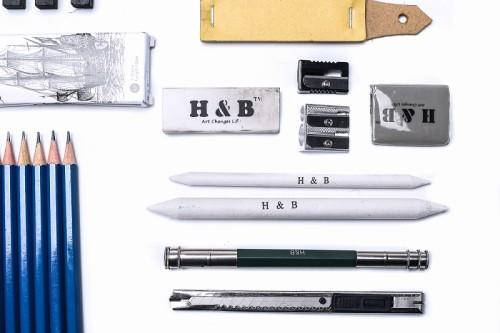 H & B 48 pcs drawing art pencil kit