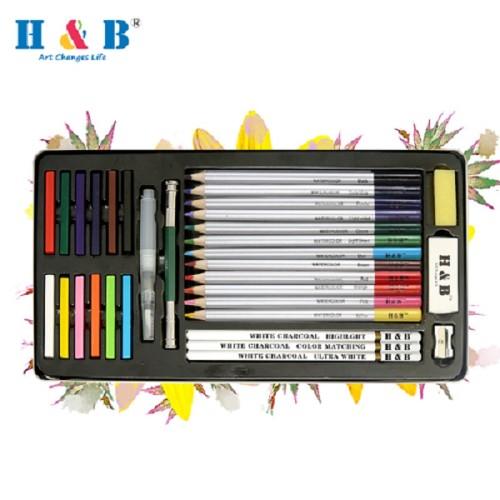 H & B 32 watercolor colored pencils kit