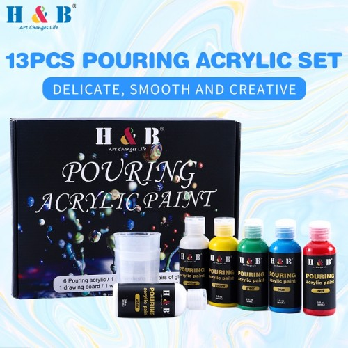 H & B pouring acrylic paint set 13 for beginners