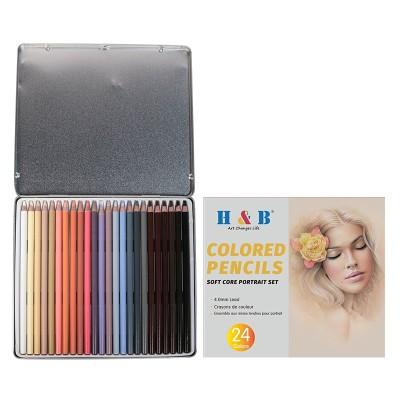 H & B friendly personlized 24pcs skin tone colored pencils set