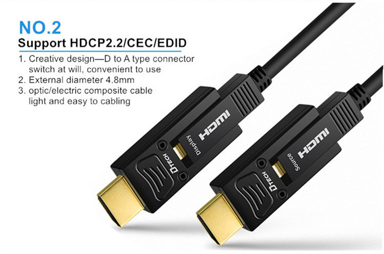 Dtech HDMI fiber cable Type D-A 5m 444