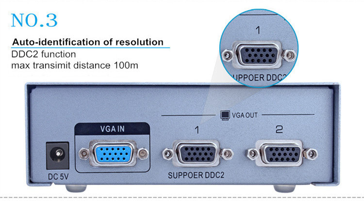 منافذ VGA الفاصل من 1 إلى 2 (500 ميجاهرتز)