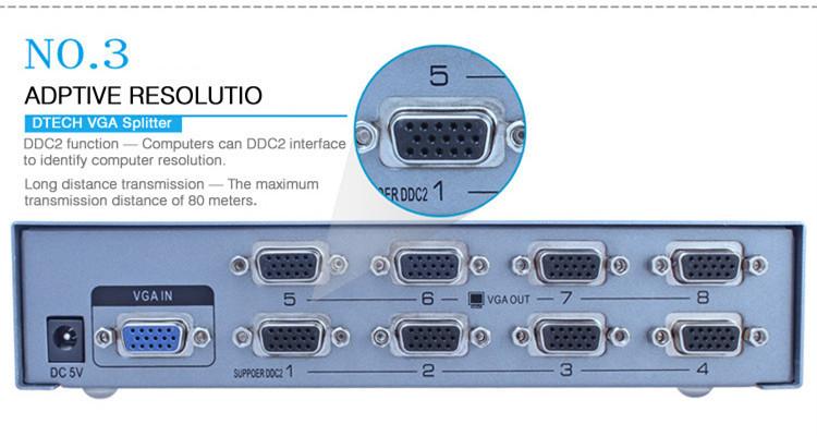 Port VGA Splitter 1 hingga 8 (500MHz)