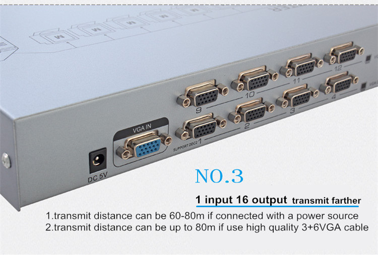 VGA Splitter 1 to 16 ports(500MHz)