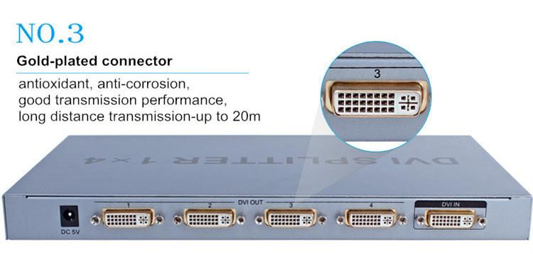 Dtech 1920x1080@60Hz 1 to 4 Ports DVI Splitter